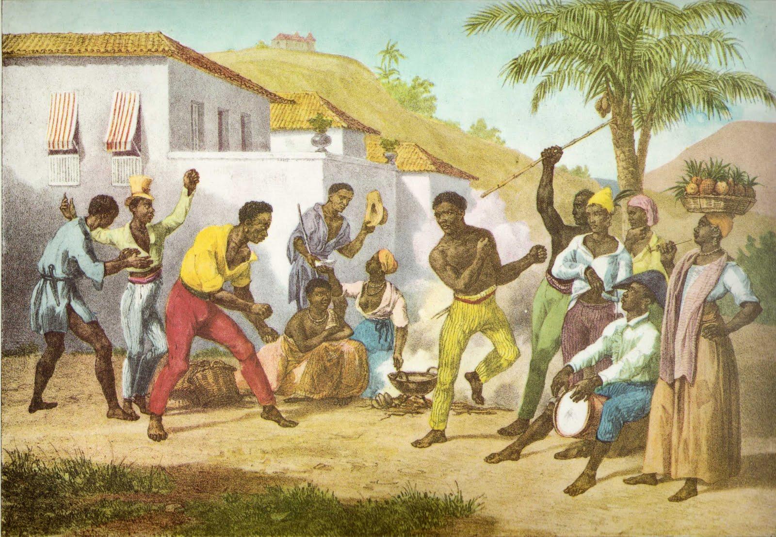 Capoeira ou Dança da Guerra, pintada por Johann Moritz Rugendas, 1825, publicada em 1835