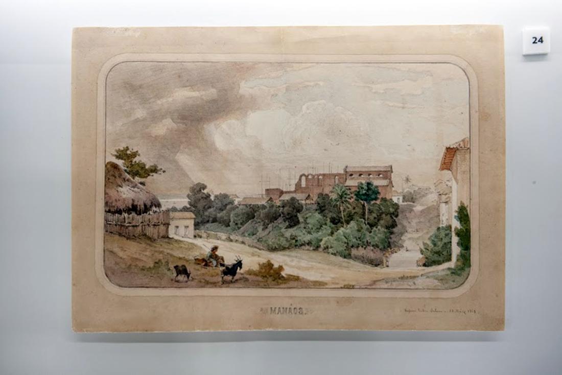 A iconografia do Norte brasileiro também deve muito à obra de Joseph Léon Righini (ca. 1820-1884). Entre os trabalhos do artista ítalo-francês expostos no Espaço Olavo Setubal está a Vista Panorâmica da Baía de Belém do Pará.