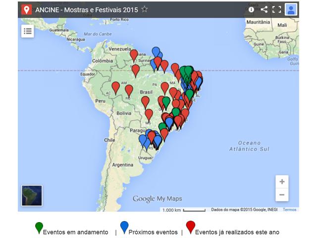 Mapa reunirá mostras e festivais de cinema pelo Brasil