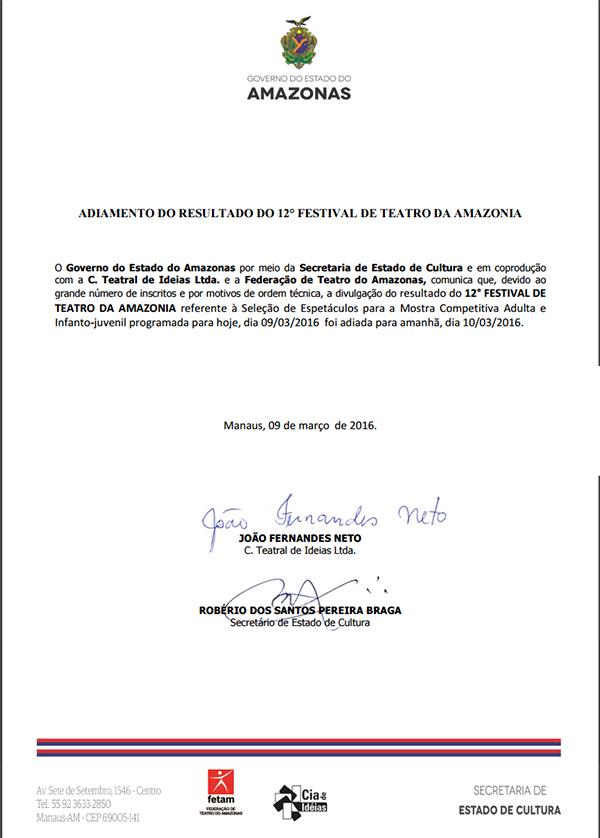 ADIAMENTO DO RESULTADO DO 12° FESTIVAL DE TEATRO DA AMAZÔNIA
